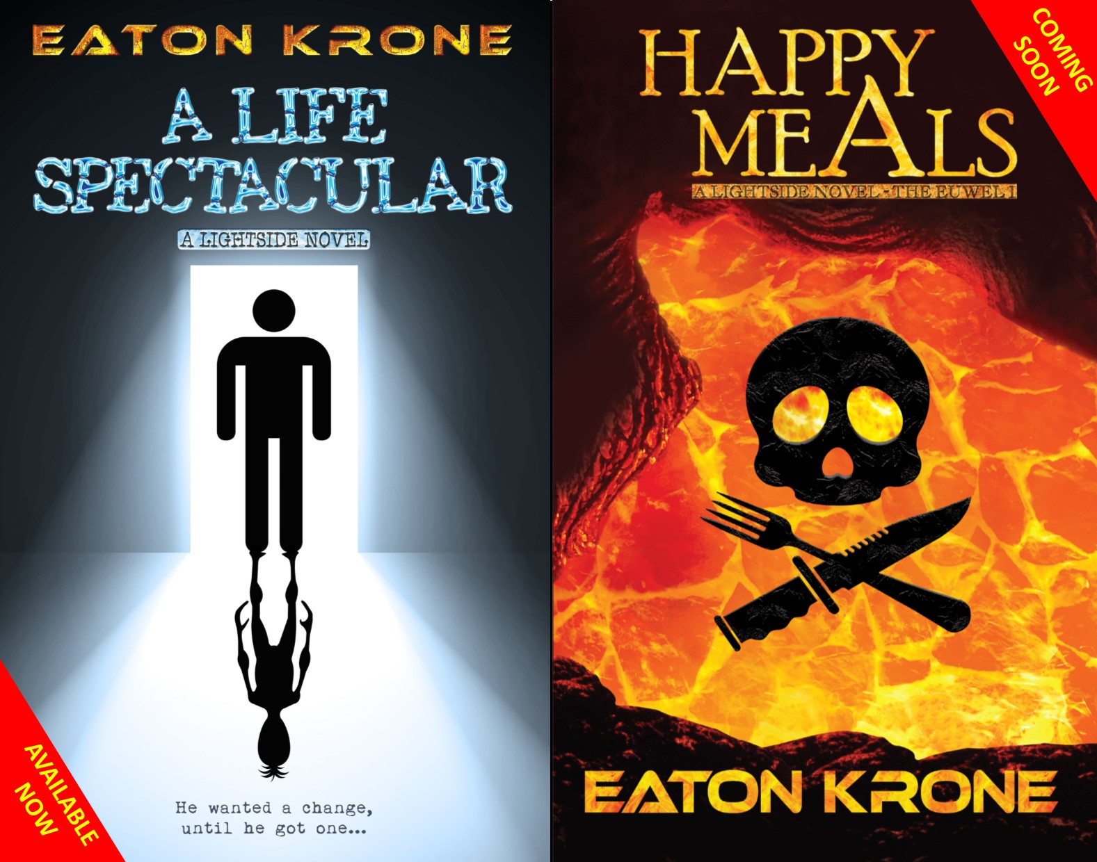 Eaton Krone_Sci-fi satire novels_A Life Spectacular & Happy Meals_NO Background_MED RES